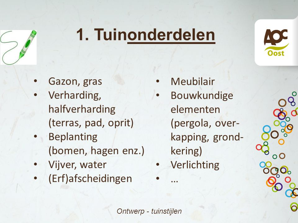 1. Tuinonderdelen Gazon, gras Meubilair Verharding, halfverharding