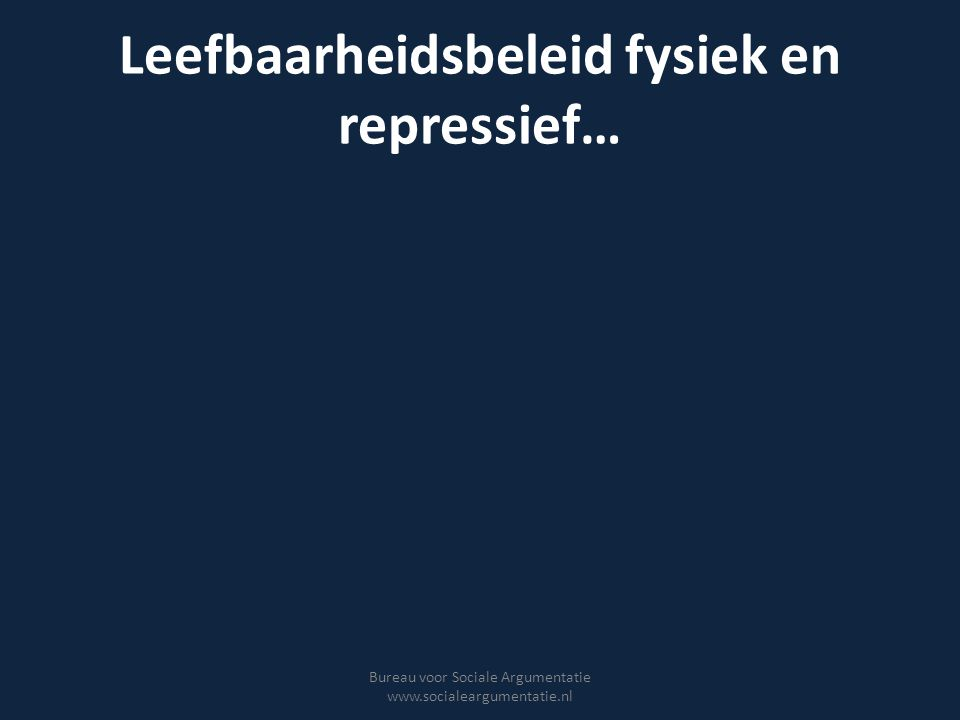 Leefbaarheidsbeleid fysiek en repressief…