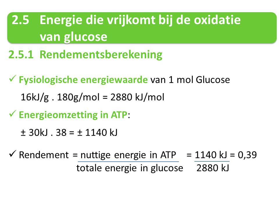2.5 Energie die vrijkomt bij de oxidatie van glucose