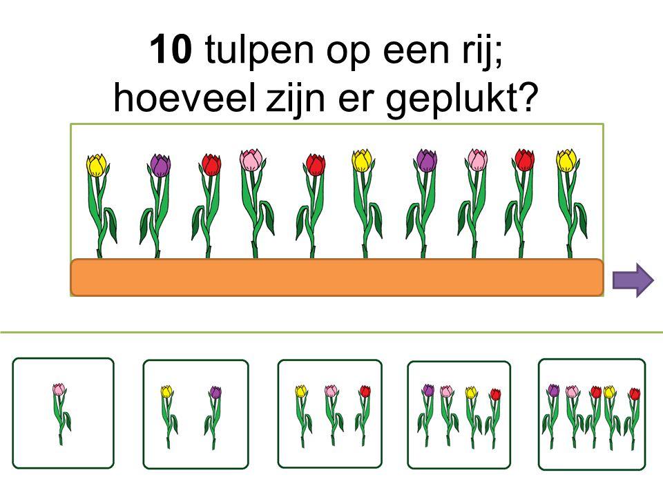 10 tulpen op een rij; hoeveel zijn er geplukt