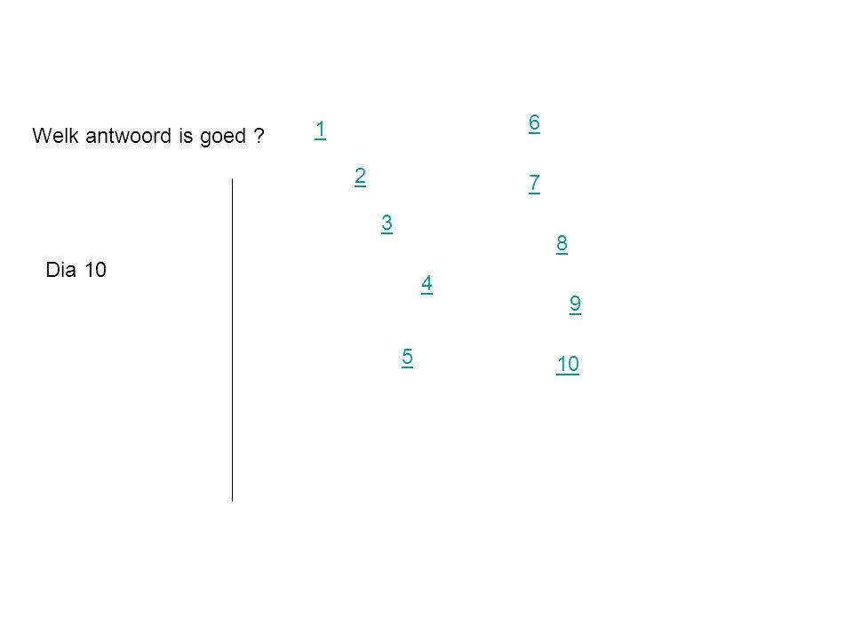 6 1 Welk antwoord is goed 2 7 3 8 Dia 10 4 9 5 10