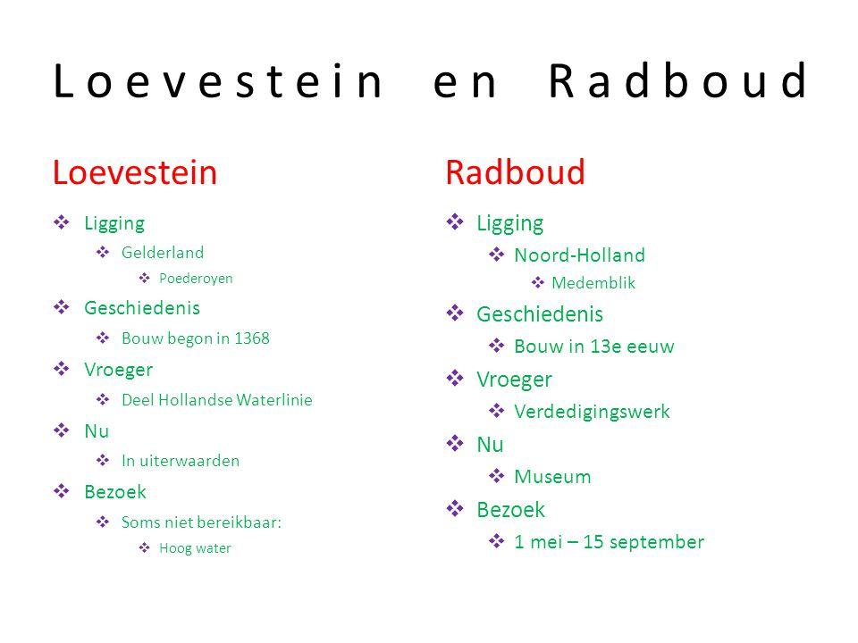 Loevestein en Radboud Loevestein Radboud Ligging Geschiedenis Vroeger