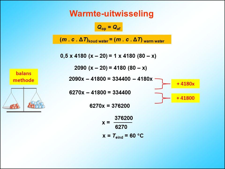 (m . c . ΔT)koud water = (m . c . ΔT) warm water