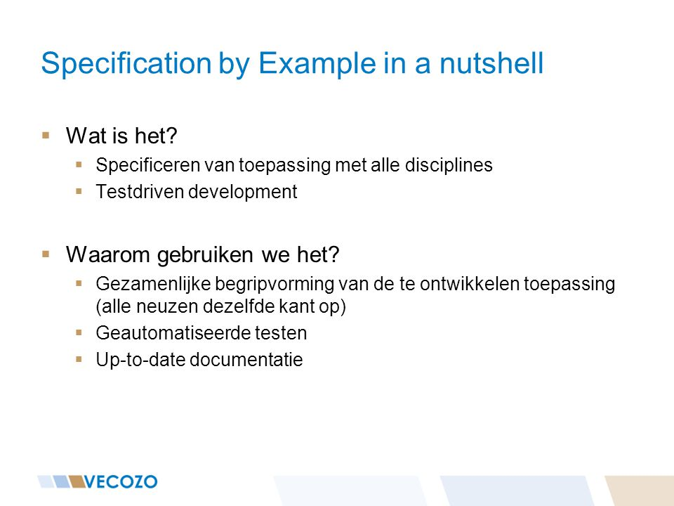 Specification by Example in a nutshell