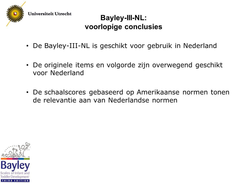 Bayley-III-NL: voorlopige conclusies