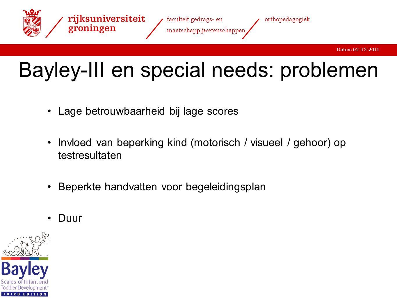 Bayley-III en special needs: problemen