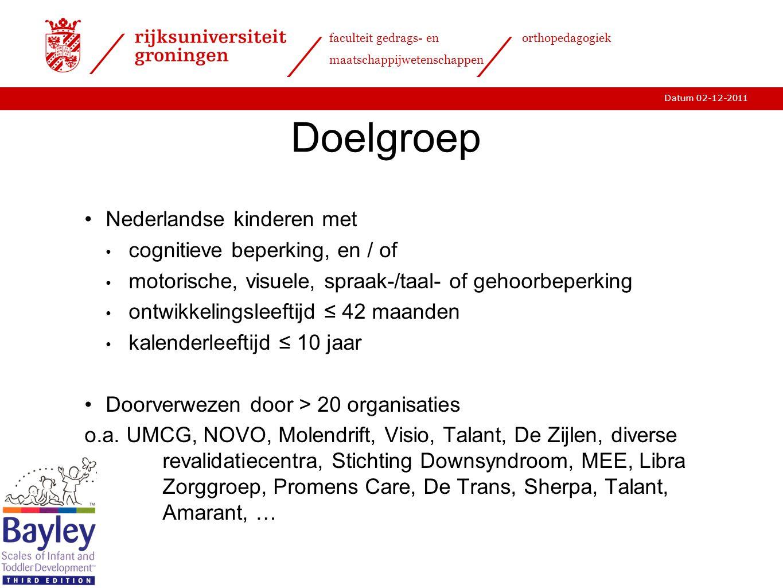 Doelgroep Nederlandse kinderen met cognitieve beperking, en / of