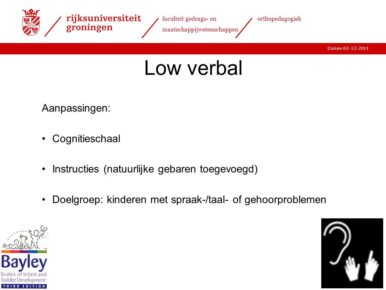Low verbal Aanpassingen: Cognitieschaal