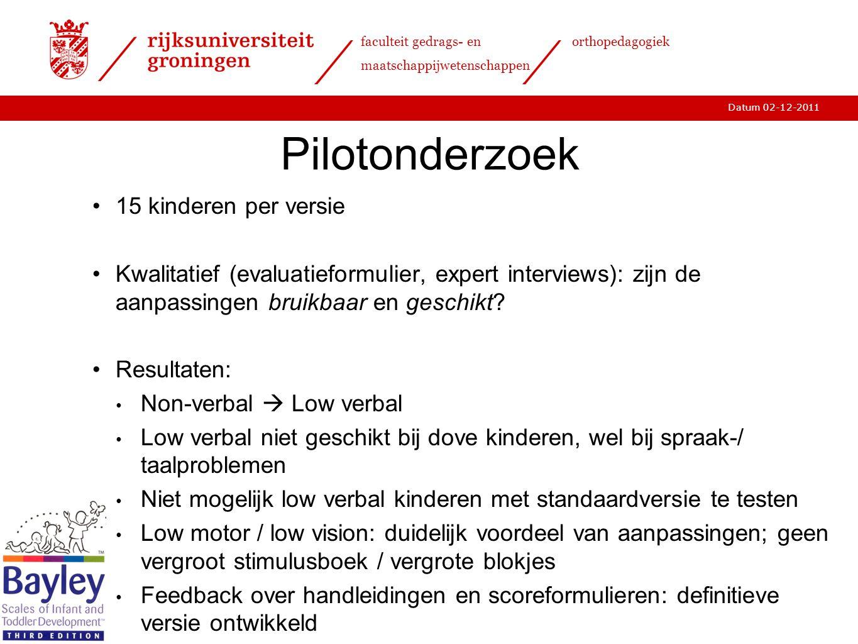 Pilotonderzoek 15 kinderen per versie