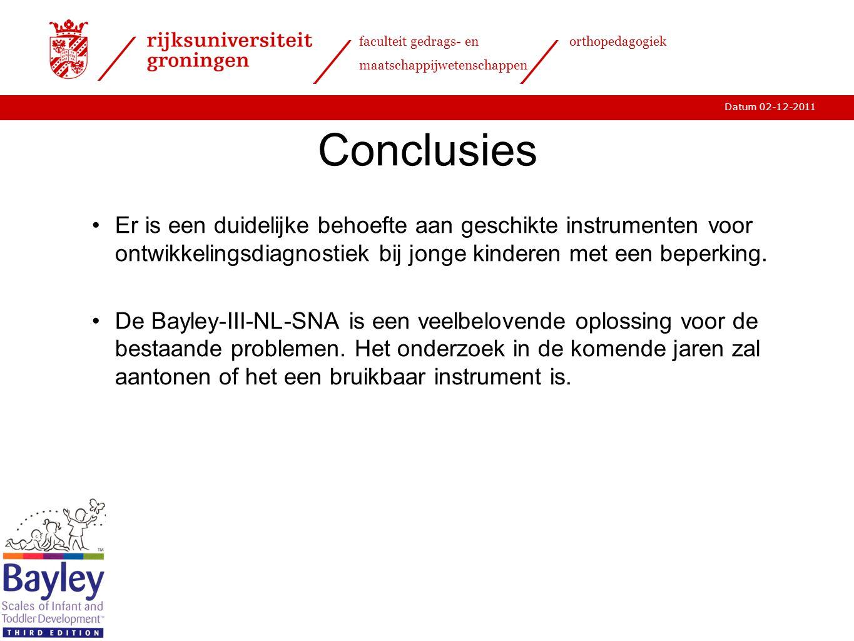 15-11-2011 Conclusies. Er is een duidelijke behoefte aan geschikte instrumenten voor ontwikkelingsdiagnostiek bij jonge kinderen met een beperking.