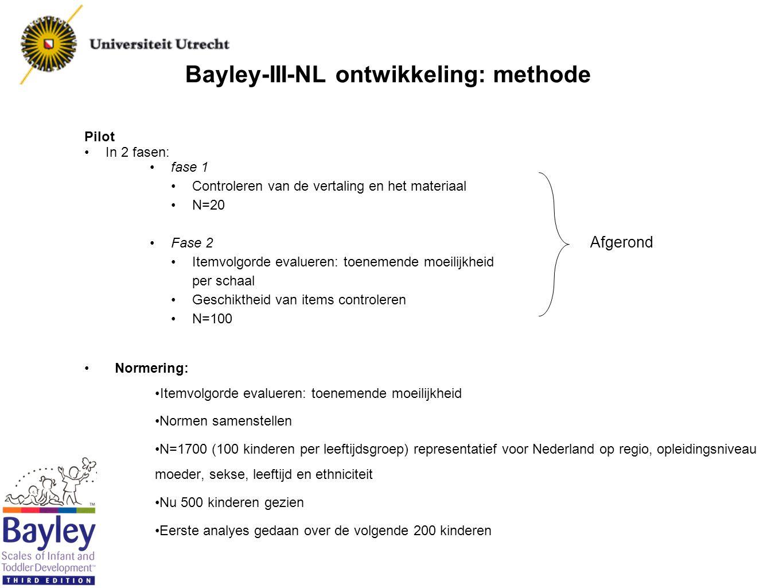 Bayley-III-NL ontwikkeling: methode