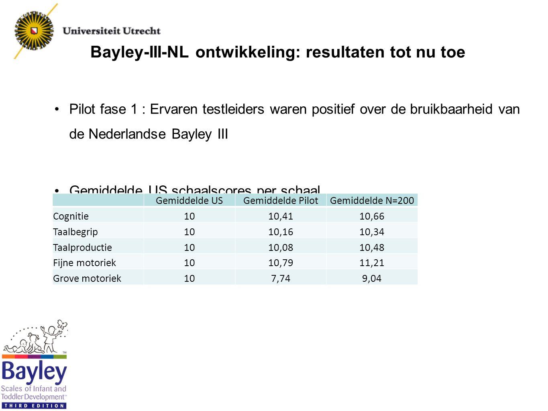 Bayley-III-NL ontwikkeling: resultaten tot nu toe