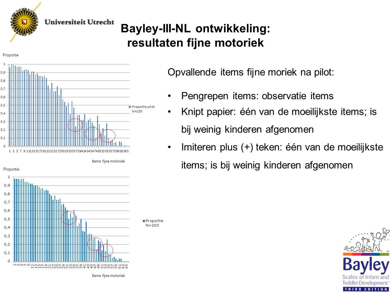 Bayley-III-NL ontwikkeling: resultaten fijne motoriek