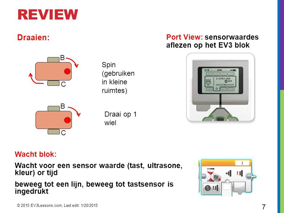 REVIEW Draaien: Port View: sensorwaardes aflezen op het EV3 blok