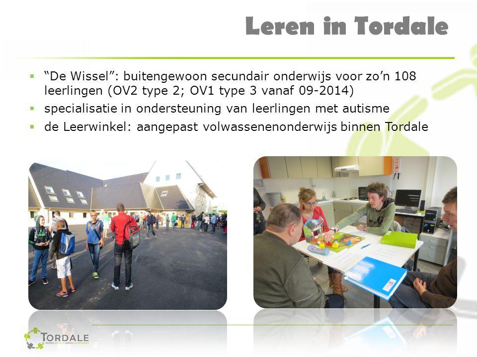 Leren in Tordale De Wissel : buitengewoon secundair onderwijs voor zo'n 108 leerlingen (OV2 type 2; OV1 type 3 vanaf 09-2014)