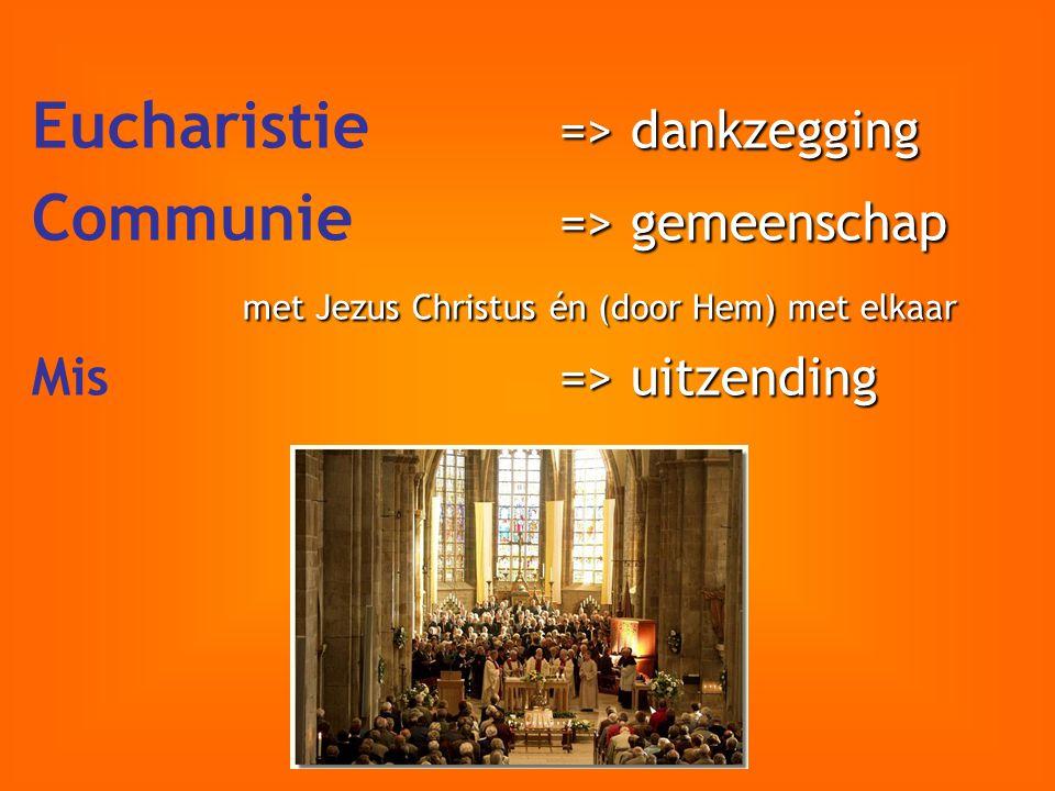 Eucharistie => dankzegging Communie => gemeenschap
