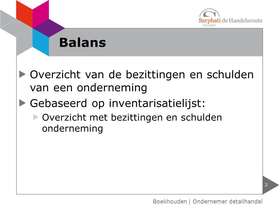 Balans Overzicht van de bezittingen en schulden van een onderneming