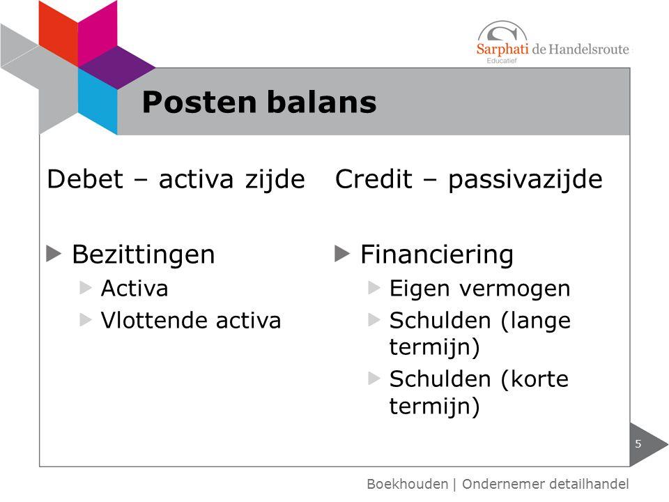 Posten balans Debet – activa zijde Credit – passivazijde Bezittingen