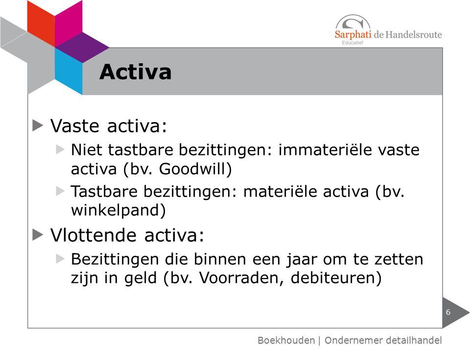 Activa Vaste activa: Vlottende activa: