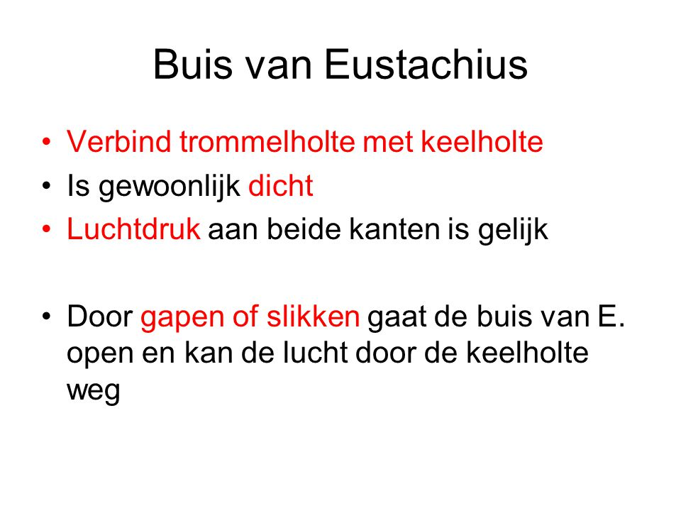 Buis van Eustachius Verbind trommelholte met keelholte