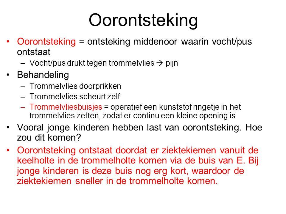Oorontsteking Oorontsteking = ontsteking middenoor waarin vocht/pus ontstaat. Vocht/pus drukt tegen trommelvlies  pijn.