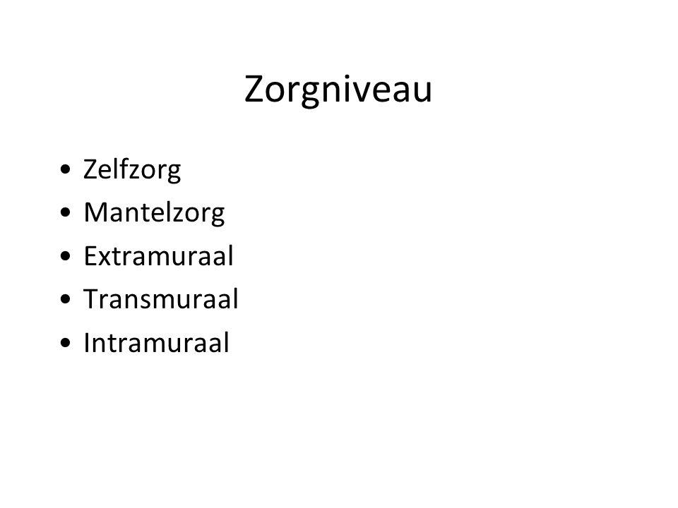 Zorgniveau Zelfzorg Mantelzorg Extramuraal Transmuraal Intramuraal
