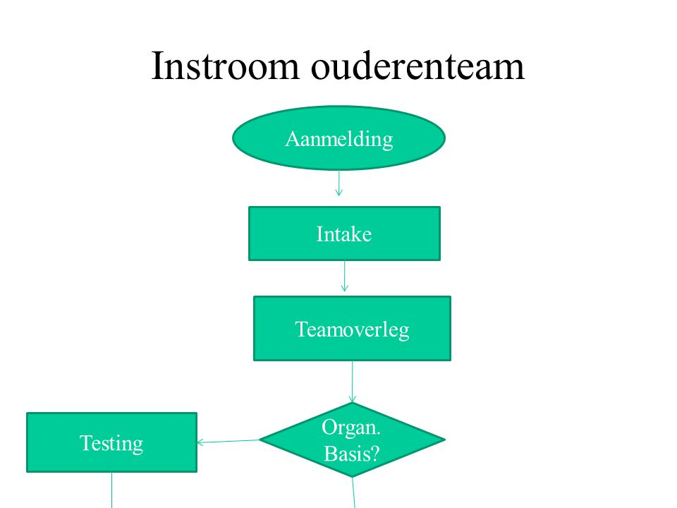 Instroom ouderenteam Aanmelding Intake Teamoverleg Organ. Testing