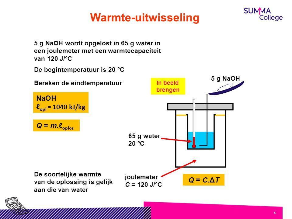 Warmte-uitwisseling NaOH ℓopl = 1040 kJ/kg Q = m.ℓoplos Q = C.ΔT