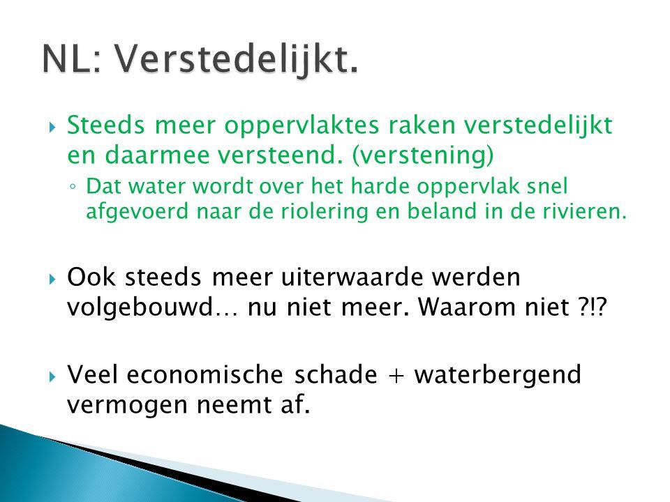 NL: Verstedelijkt. Steeds meer oppervlaktes raken verstedelijkt en daarmee versteend. (verstening)