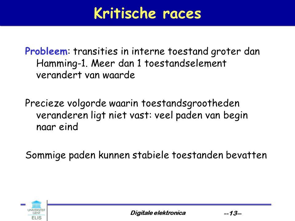 Kritische races Probleem: transities in interne toestand groter dan Hamming-1. Meer dan 1 toestandselement verandert van waarde.