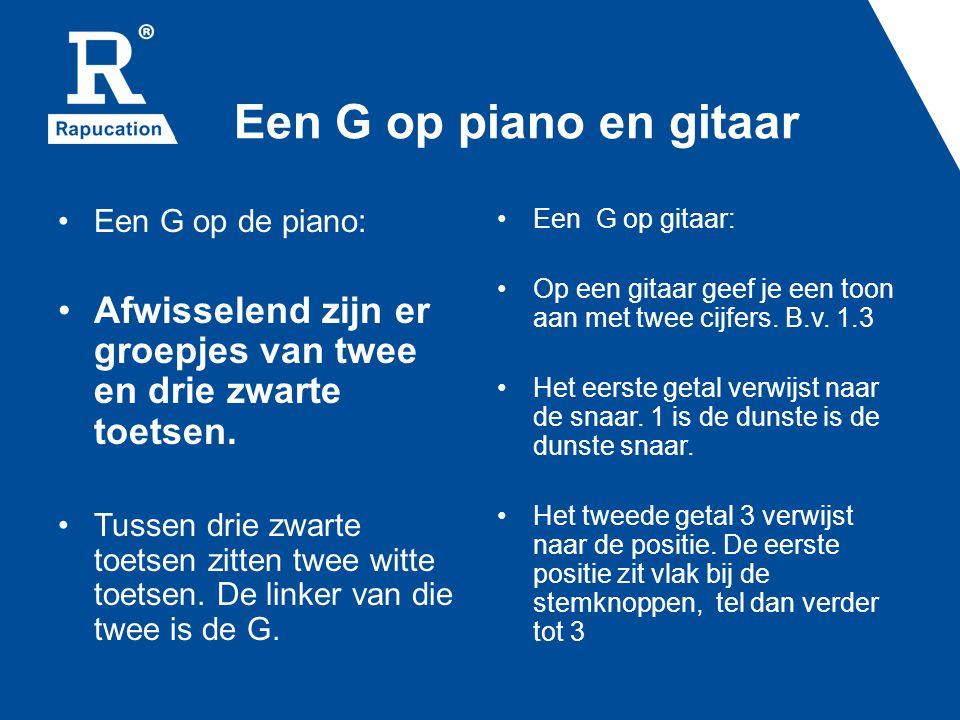 Een G op piano en gitaar Een G op de piano: Afwisselend zijn er groepjes van twee en drie zwarte toetsen.