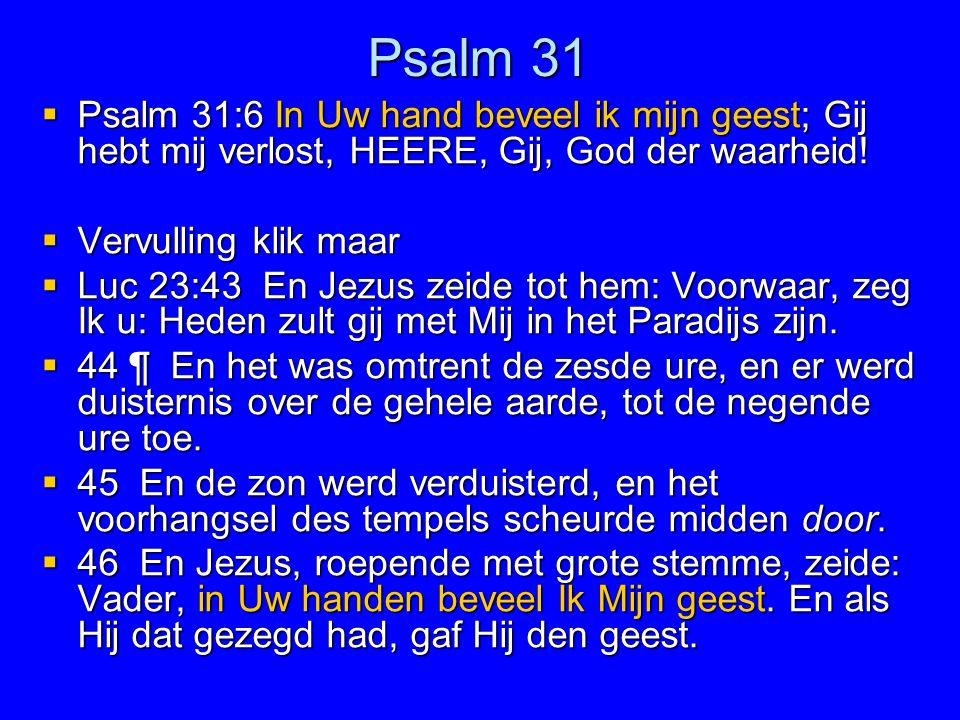 Psalm 31 Psalm 31:6 In Uw hand beveel ik mijn geest; Gij hebt mij verlost, HEERE, Gij, God der waarheid!