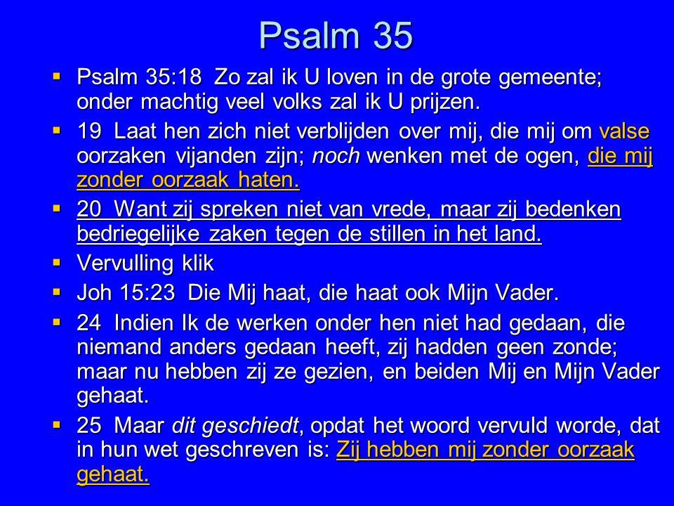 Psalm 35 Psalm 35:18 Zo zal ik U loven in de grote gemeente; onder machtig veel volks zal ik U prijzen.