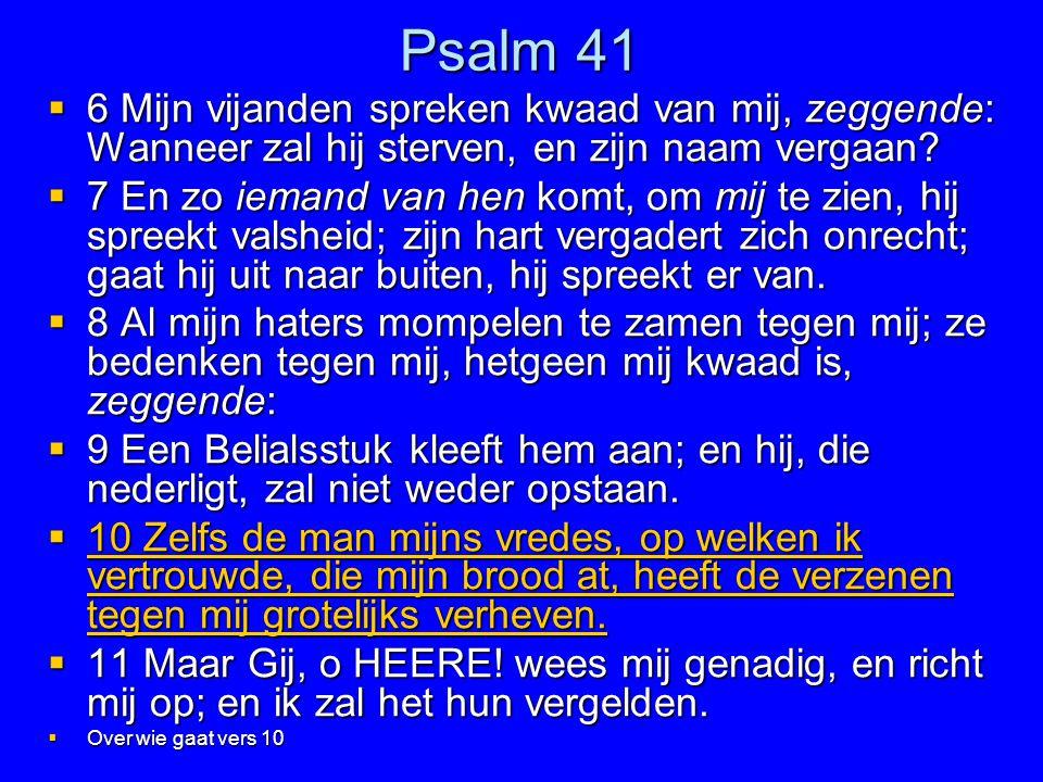 Psalm 41 6 Mijn vijanden spreken kwaad van mij, zeggende: Wanneer zal hij sterven, en zijn naam vergaan