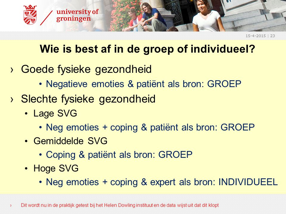 Wie is best af in de groep of individueel