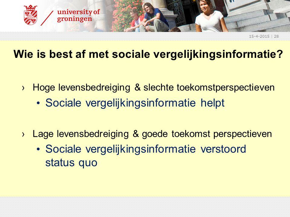 Wie is best af met sociale vergelijkingsinformatie