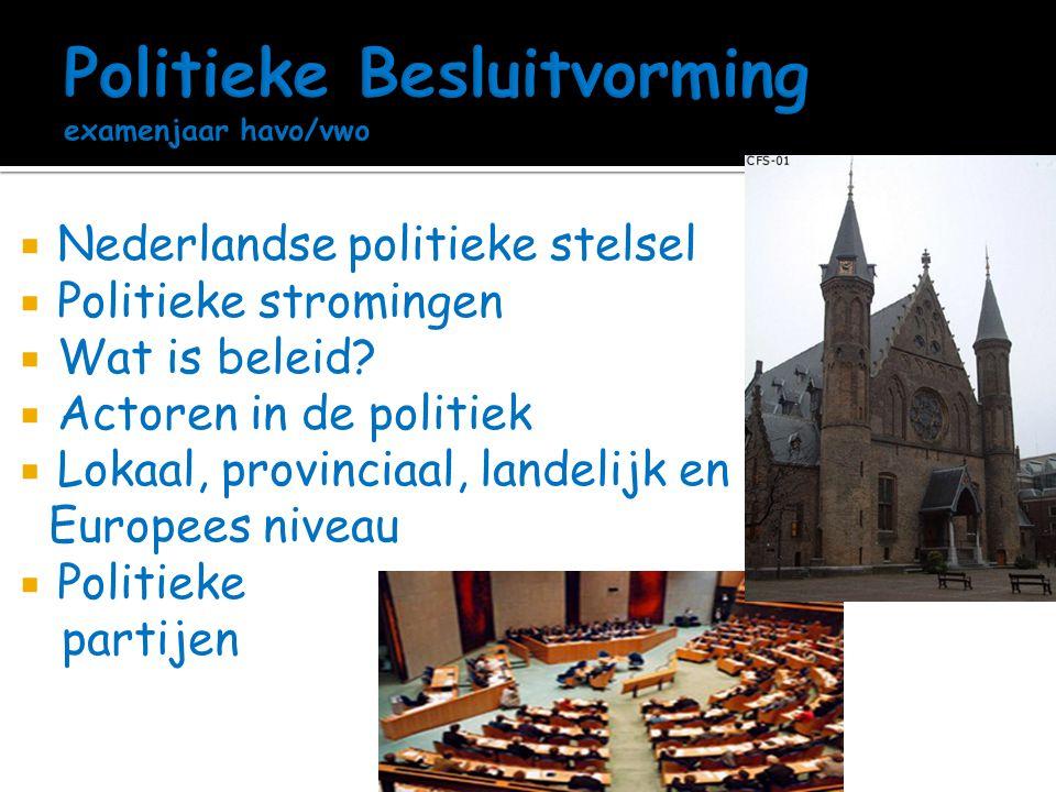 Politieke Besluitvorming examenjaar havo/vwo