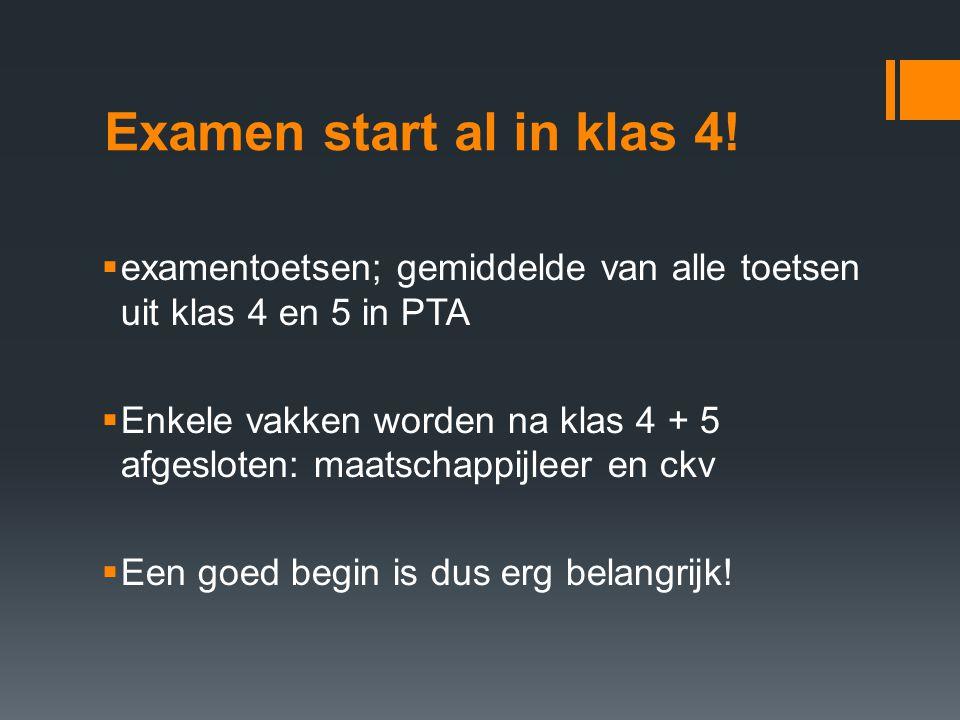 Examen start al in klas 4! examentoetsen; gemiddelde van alle toetsen uit klas 4 en 5 in PTA.