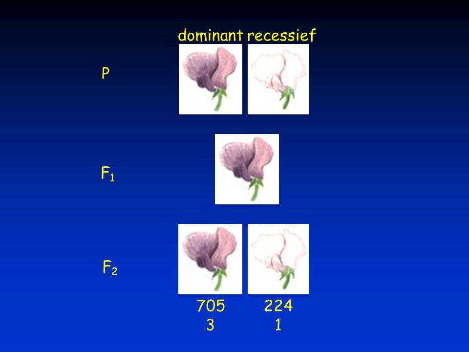 dominant recessief P F1 F2 705 3 224 1