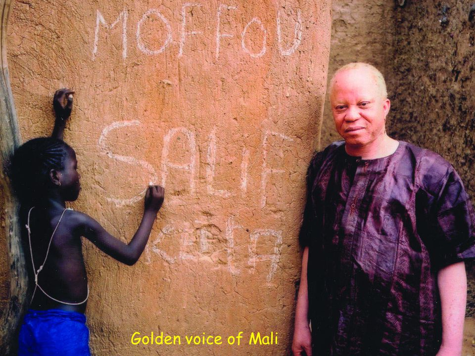 Salif Keita, born in 1949 in Djoliba, is sometimes called the Golden Voice of Africa. He is a direct descendent of Sundiata Keita, the Mandinka warrior king who founded the Malian empire in the 13th century. Born an albino - a sign of bad luck - Keita was shunned and ostracized by his family and community alike. His poor eyesight also contributed to his personal sense of alienation. In 1967 he moved to Bamako where he began playing in nightclubs with one of his brothers. Two years later he joined the 16 member, government sponsored Rail Band that played at the Bamako railway station s Buffet Hotel de la Gare - a very choice gig at the time. In 1973 he left the Rail Band along with Kante Manfila (guitarist, composer, and leader of the band) to join Les Ambassadeurs.