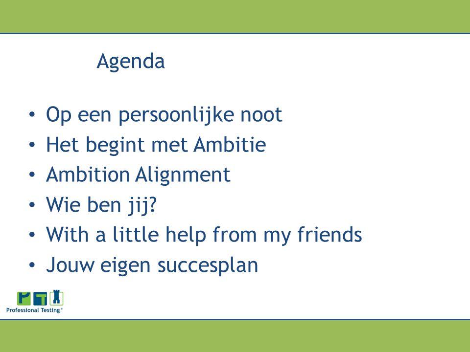 Agenda Op een persoonlijke noot. Het begint met Ambitie. Ambition Alignment. Wie ben jij With a little help from my friends.