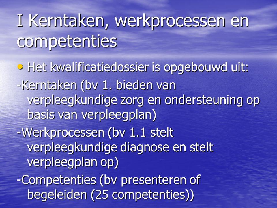I Kerntaken, werkprocessen en competenties