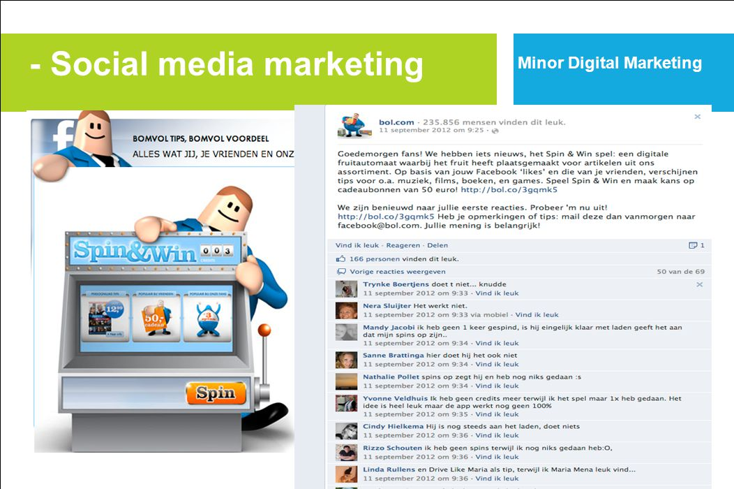 - Social media marketing