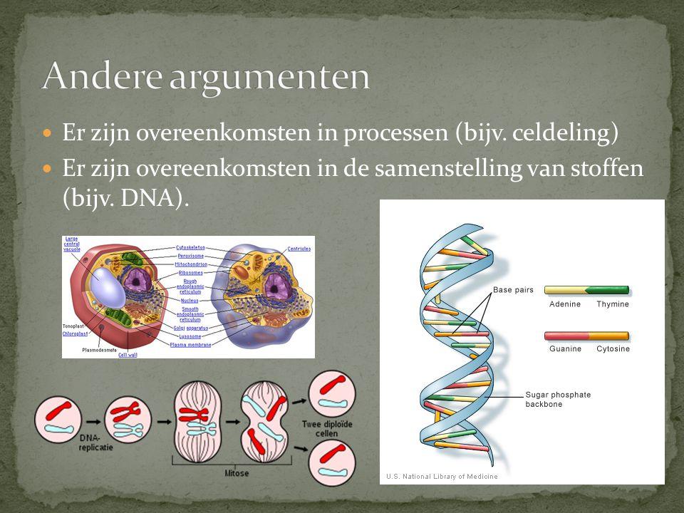 Andere argumenten Er zijn overeenkomsten in processen (bijv.