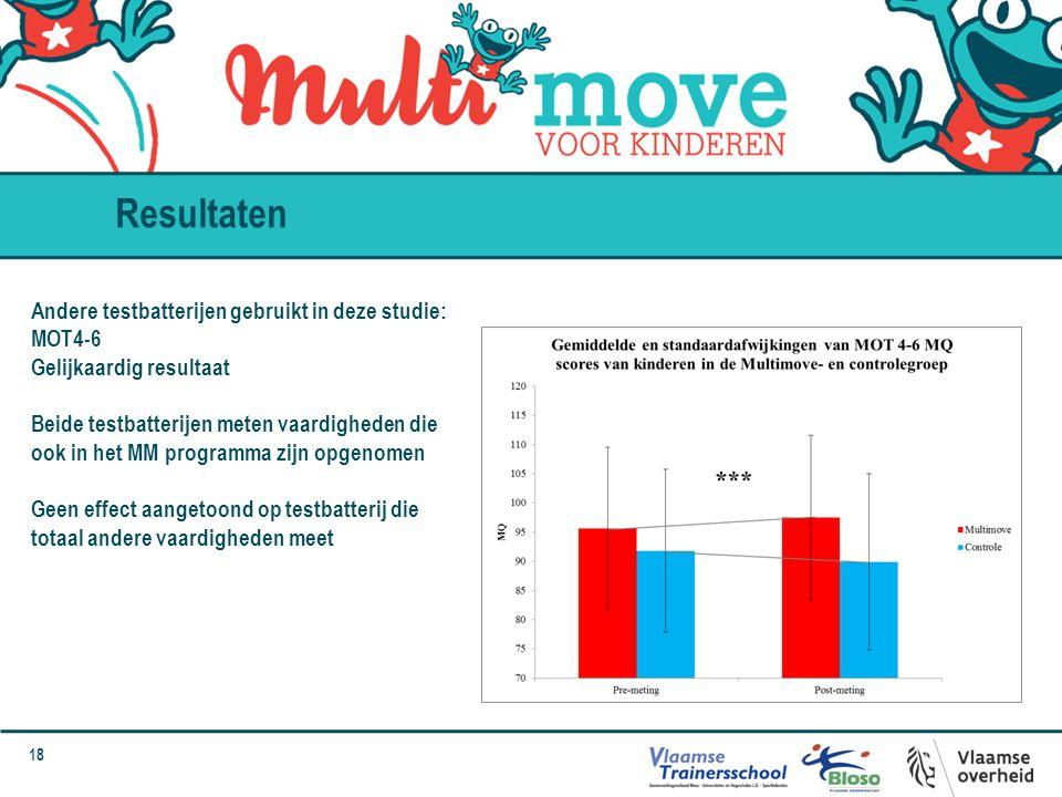 Resultaten Andere testbatterijen gebruikt in deze studie: MOT4-6