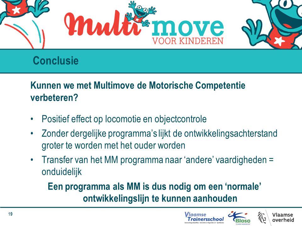 Conclusie Kunnen we met Multimove de Motorische Competentie verbeteren Positief effect op locomotie en objectcontrole.