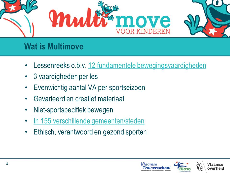 Wat is Multimove Lessenreeks o.b.v. 12 fundamentele bewegingsvaardigheden. 3 vaardigheden per les.