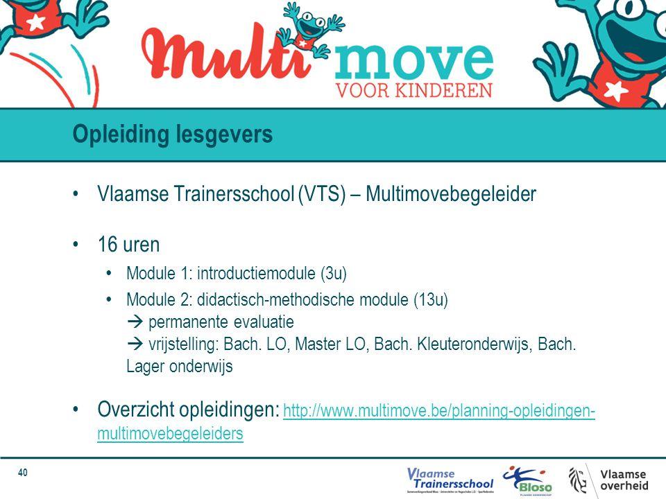 Opleiding lesgevers Vlaamse Trainersschool (VTS) – Multimovebegeleider