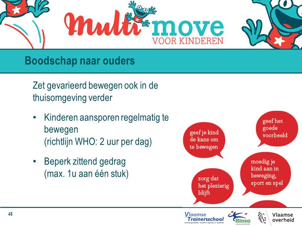 Boodschap naar ouders Zet gevarieerd bewegen ook in de thuisomgeving verder.