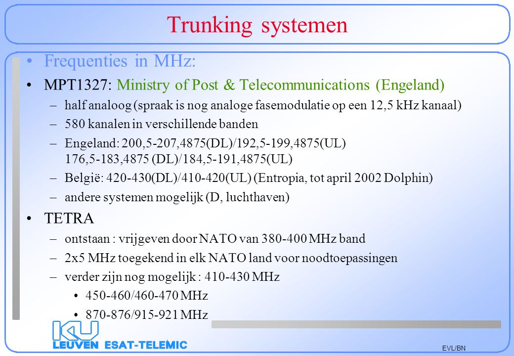 Trunking systemen Frequenties in MHz: